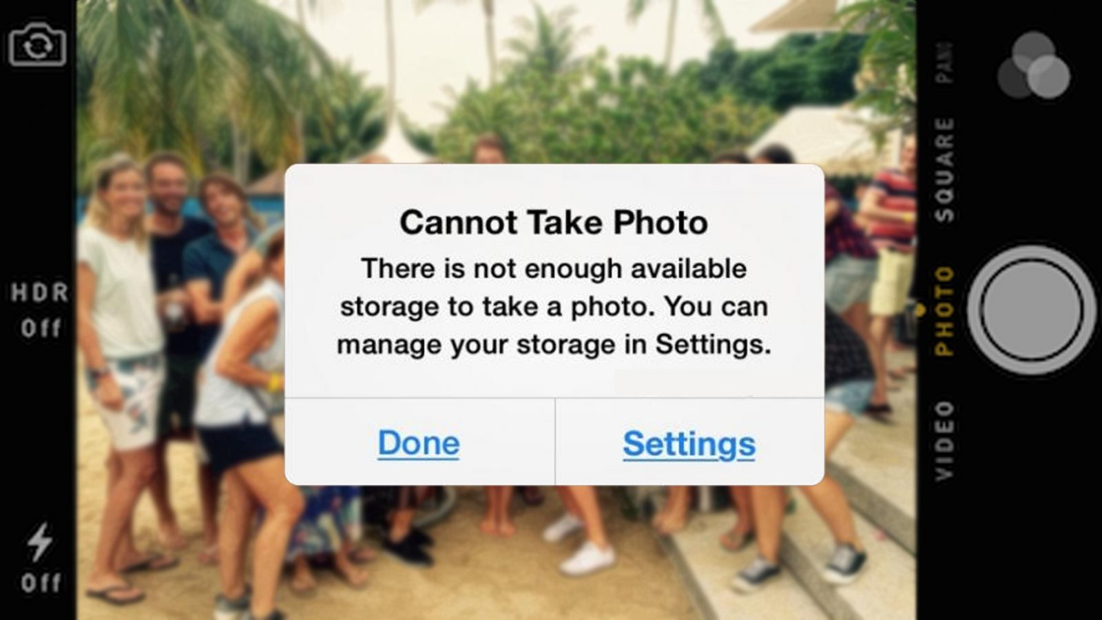 cannot take photo there is not enough available storage