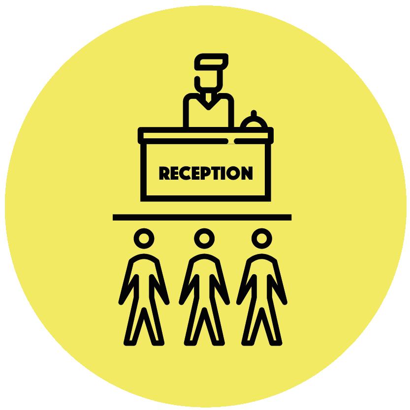 Rezeption ist durch eine Plexiglasscheibe geschützt